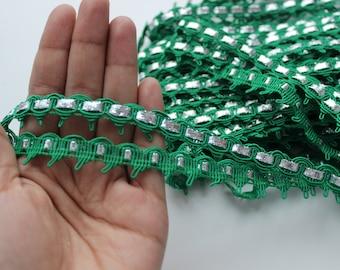 Green metallic silver soutage ribbon trim 12 meters