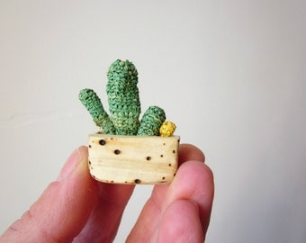 Small potted with cactus, wall decoration, wood carving, crochet cactus, wall hanging miniature