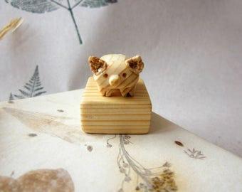 Miniature pig sculpture on pedestal, wood carving , animal carving, pig figurine, miniature art, wooden pig, reclaimed wood sculpture