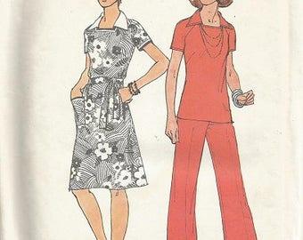"Vintage Simplicity 6384 Dress, Top and Pants Pattern SZ 14  Bust 36"""