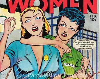 Women in Prison Love Vintage Art  Comic Book Remix Print Lesbian Gay