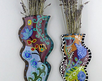 Handmade Ceramic Wall Vase | Decorative Vase | Colorful Wall Hanging | Home Decor | Wall Art | Colorful Wall Vase | Hanging Vase | Vases