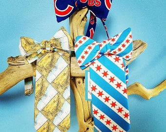 Chicago, Illinois Bow Ties, Map of Chicago, Cubs, Illinois State Outline, Chicago Flag Bow Tie