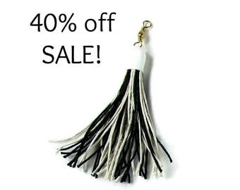 32 Inch Tassel Teaser Cat Wand Toy - Hemp Cat Toy - All Natural - Black & White - Save 40%