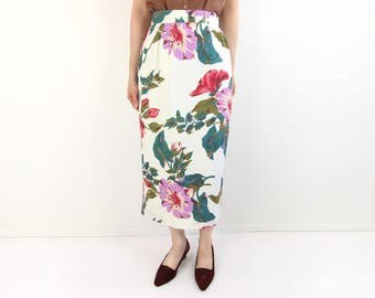 VINTAGE Floral Skirt Tropical White Long