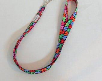 Handmade Lanyard Elephant Fabric Lanyard  with Key Ring ID Holder  ID Badge Holders  Scissors Holder Teacher Gift Medical Staff Gift Idea