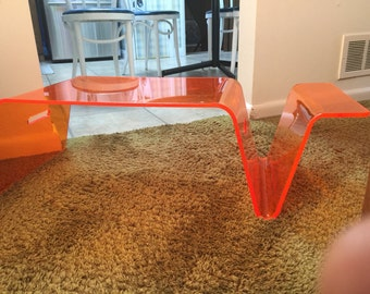 Kartell era Orange Lucite Magazine Rack Laptop Table Tray