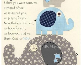 Baby boy nursery decor, Nursery print, Baby elephant, before you were, blue and gray, baby boy room art, baby blue, navy, gray, boy nursery