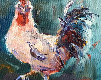 Rooster Oil Painting Portrait, Rooster Painting, Original Oil Painting, Small Painting, Miniature Mini Painting, Animal Painting,  Gift Item