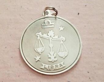 Vintage Sterling Silver Libra Zodiac Pendant 925