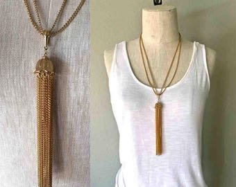 Vintage long gold necklace CHANDELIER FRINGE double chain