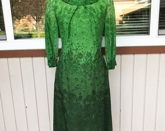 Vintage 50s Dress Organdy Ombre Green Field of Daisies  S-M R&K