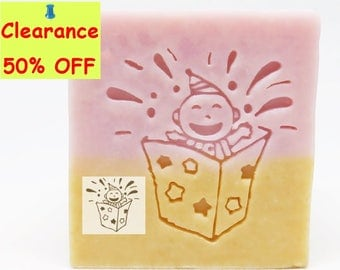 SoapRepublic Surprise Box Acrylic Soap Stamp / Cookie Stamp / Clay Stamp
