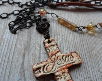 Cross necklace Tassel chain necklace names of Jesus Rustic rose cross necklace