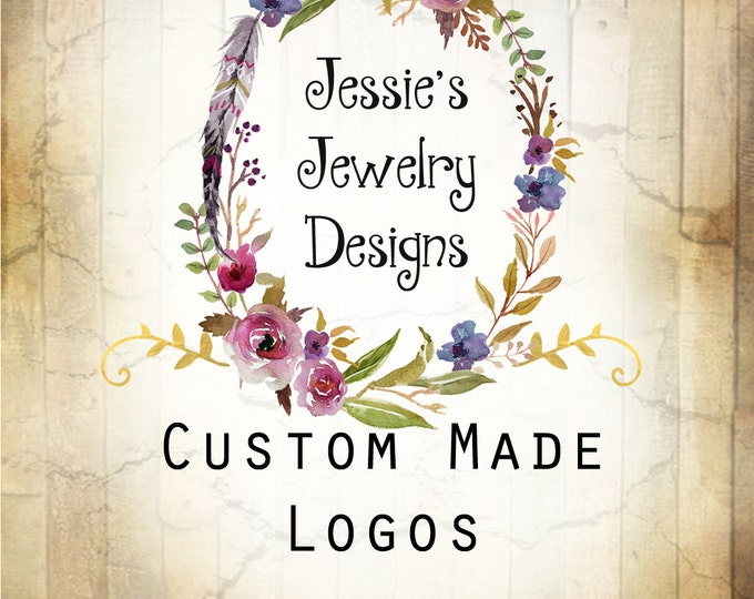 LOGO in JESSIE•Premade Logo•Jewelry Card Logo•Watercolor Logo•Custom Logo•Shop Logo