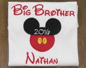 Boys, Mickey Mouse, Big Brother, Appliqued Shirt or Baby Bodysuit, Long or Short Sleeve, Disney Vacation, Birthday, YOU DESIGN