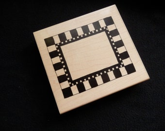 Rubber Stamp - Large - Checkerboard Frame - JLR  - (1)