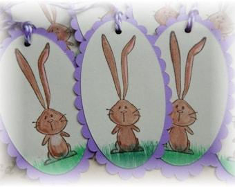 Long Earred Bunny Tags - Easter Bunny - Basket - Gift/ Hang  Tags (6)