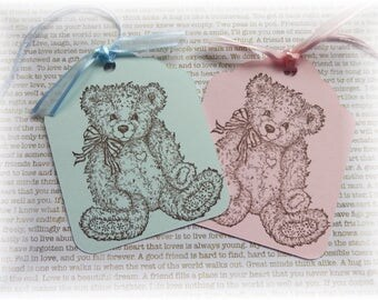 Baby Tags -  Boy or Girl - Teddy Bear- Shower Gift Tags (10) - MiXed SeT (blue & pink)