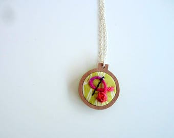 Green mini embroidery hoop necklace,  mini pink yarn ball, crochet needle