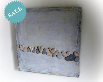Beach House Wall Hanging - Pebble Art - Nature Inspired Art - OOAK Unique Gift - Sea finds actual heart shaped beach stones - Beach Art - L4