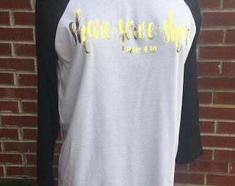 Share Serve Shine Raglan Sleeve Shirt