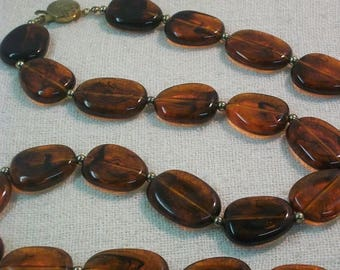 SpringSale17 Vintage Lucite Acrylic Amber Extra Long Beaded Necklace