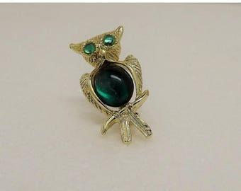 SpringSale17 Vintage Goldtone Green Jelly Belly Owl Brooch Pin~Jelly Belly Brooch~Owl Brooch