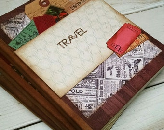 Travel Journal Smashbook Art Journal Keepsake with Unlined Pages Vacation Road Trip Honeymoon Adventure Memories Gift for Her Gift for Him