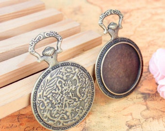 HEAVY --4pcs  464x44mm antiqued bronze plated porket watch round bezel pendant blanks(fit 35mm cabochons)