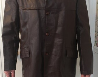 Mens XL Tall Gino Leathers coat made in USA