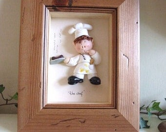 PERSONALISED CHEF, Cook, Cakemaker, Baker Gift, Unique Framed Polymer Clay Characters, M or F