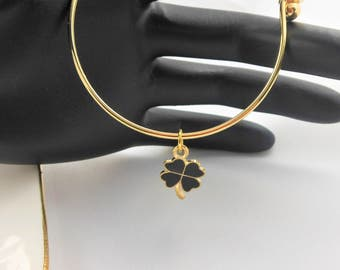 NEW GORGEOUS Gold Plated Bangle Bracelet with Black Enamel Four Leaf Clover   (GPB4LC001)