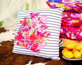 Beautiful Spring Floral Burst Pillow Cover with Vintage Inspired print. Available in several colors, or customize with your own colors.