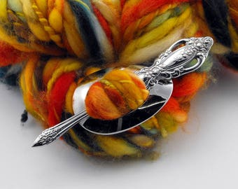 Ornate Shawl Pin, Monte Carlo, Stainless Steel, Re-purposed Flatware, Spoon Jewelry