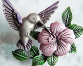 Signed JJ Vintage Hummingbird on Pink Flower Brooch JONETTE Jewelry