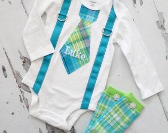 Baby Boy Birthday Tie Suspenders Bodysuit Leg Warmers. Spring Summer Baby Boy 1st First Birthday Outfit.  Aqua Teal Green Plaid. Cake Smash.