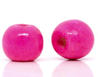 200 pcs Hot Pink Fuchsia Wooden Wood Round Spacer Beads - 10x9mm