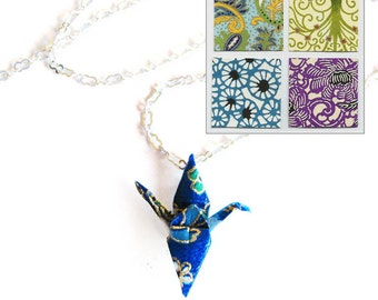 Origami Crane Necklace Swirls and Whirls Paper Choices Too Peace Crane Necklace