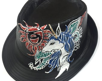Pleather Unicorn with Rose Tattoo Style Handpainted Fedora One of a kind
