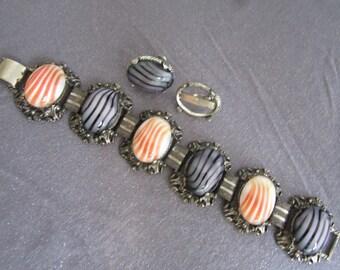 art glass bracelet, chunky bracelet, vintage chunky, collector jewelry, cabochon bracelet, statement jewelry, statement bracelet