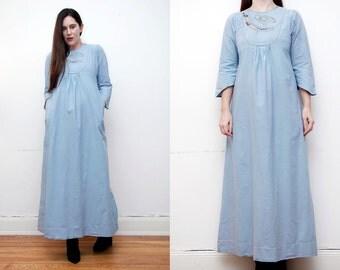 Vintage Indian Cotton Batik Hippie Boho Maxi Dress 70's