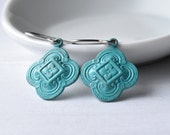 Turquoise Dangle Earrings, Casual Earrings, Clover Charms, Birthday Gift, Surgical Steel, Earrings UK