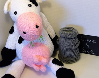 Clara the stuffed animal cow, made to order