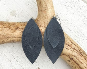 Double Petal Leather Earrings in Distressed Navy