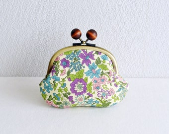 Liberty shabby chic floral coin purse - Purple, Green and Pink. Handmade in Japan. Frame purse with wooden balls.