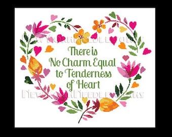 Heart Cross Stitch, Floral Heart Cross Stitch, Flower Heart, Heart, Crochet Pattern, Heart With Flowers Cross Stitch NewYorkNeedleworks