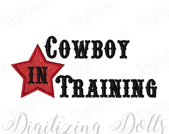 Cowboy in Training Star Applique Machine Embroidery Design Digital File 4x4 5x7 6x10 INSTANT DOWNLOAD