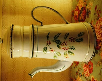 Enameled  French COFFEE POT with HOLY
