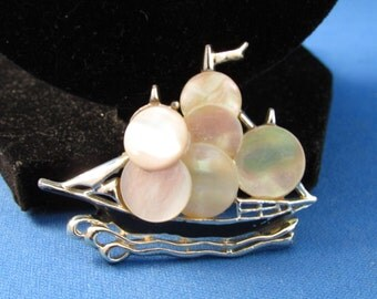 Mother of Pearl Ship Brooch